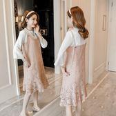 孕婦春裝連衣裙新品春季孕婦裝春秋時尚款兩件組蕾絲孕婦裙子