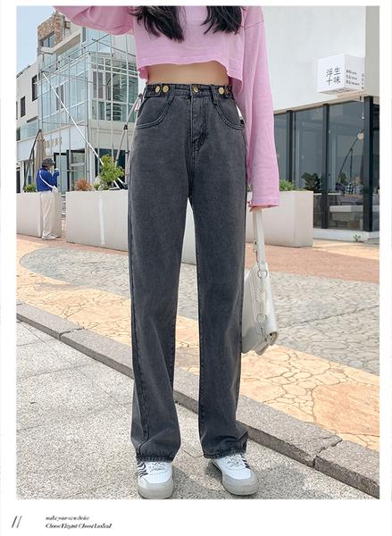 EASON SHOP(GQ2446)實拍水洗丹寧做舊磨白明車線提臀腰間可調式鈕釦垂感直筒牛仔褲女高腰加長褲寬褲