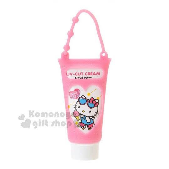 〔小禮堂〕Hello Kitty 日製UV防曬乳《粉.溜直排輪.星星》附矽膠提袋.花香 4901610-95126