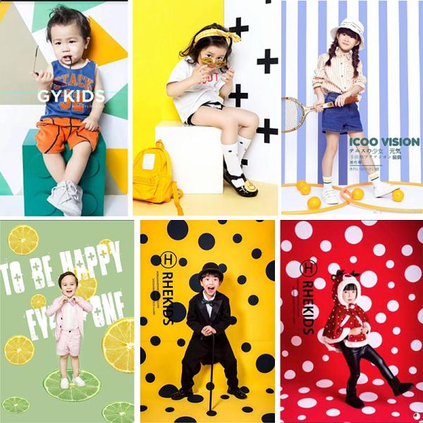 影樓時尚卡通圖案拍照背景紙滿月周歲百天迷你主題攝影兒童背景