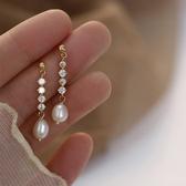 耳環 簡約 鑲鑽 珍珠 吊墜 甜美 氣質 耳釘 耳環 【SE695】 icoca  3/27