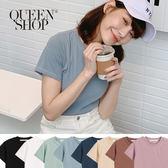 Queen Shop【01037837】圓領車線設計素面短T 八色售*現+預*