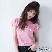 Victoria  LOGO繡流蘇飾釘珠短袖T-女-桃粉花紗