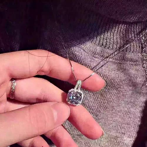 項鍊 - 韓版方形滿鑽簡約設計鎖骨練【21550】 藍色巴黎《2色》【防過敏】