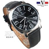 valentino coupeau范倫鐵諾 方圓數字時尚錶 防水手錶 真皮 黑 男錶 V61601B黑大