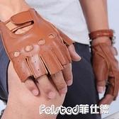 羊皮秋冬新品運動防滑健身半指男手套2色【菲仕德】
