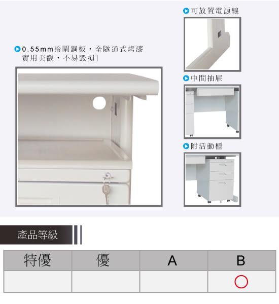 【YUDA】冷匣鋼板 全隧道式烤漆 HU150HU  中間抽屜 活動櫃 3件組/桌整組/辦公桌