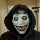 萬聖節道具 萬圣節新款恐怖面具驅魔人微笑白眼惡魔頭套面罩