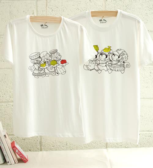 【七夕情人節禮物】【幸福森林】可愛猴子情侶裝 -猿始人配配對┇ 棉質圓領短袖 個性插畫T恤