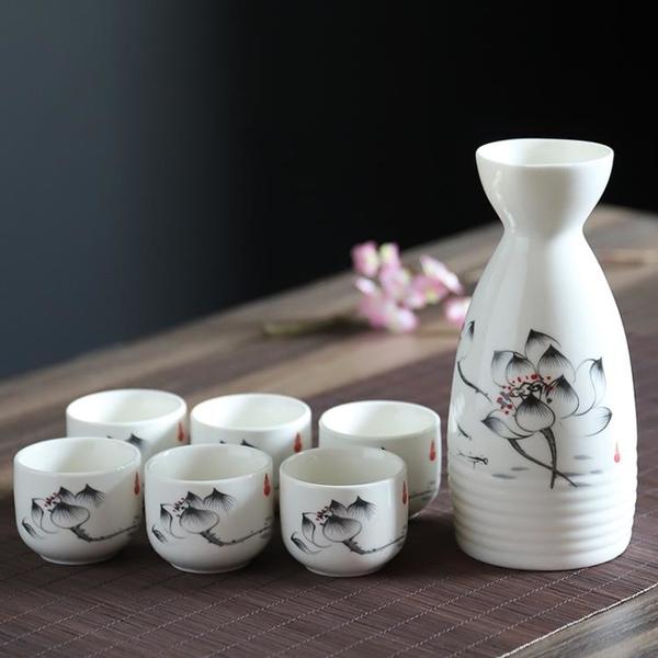 日本清酒酒具套裝陶瓷日式白酒酒具套裝古風烈酒杯酒壺酒杯一口杯 「夢幻小鎮」