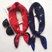 聖誕節 韓國春夏季百搭紅色圍巾文藝裝飾銀行職業小方巾小絲巾領巾頭巾女 熊貓本