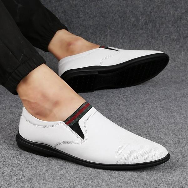 FINDSENSE品牌 秋款 新款 日本 男 高品質 休閒 透氣 圓頭皮鞋 個性