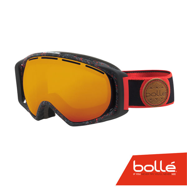 法國 Bolle GRAVITY 經典球形鏡片外型 防霧雪鏡 亞洲版 黑飛濺紅/透明多層 #21572