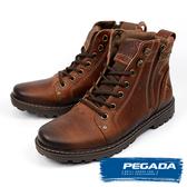 【PEGADA】巴西名品牛皮拉鍊中筒靴 深棕色(181052-DBR)