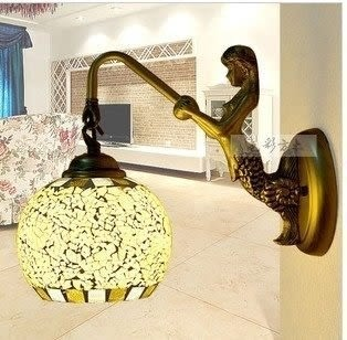 設計師美術精品館彩色歐式田園地中海 美人魚壁燈/鏡前燈/床頭燈飾燈具138米黃 邊