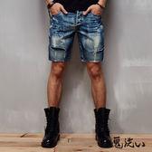 【夏季優惠】民俗圖騰繡鬼短褲(牛仔藍) - 鬼洗い BLUE WAY