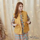 【Tiara Tiara】激安 棉質針織領無袖罩衫背心(藍/黃)