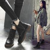 秋冬新款chic馬丁靴女英倫風學生加絨棉鞋複古平底網紅短靴子