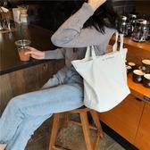 側背包 簡約 字母 手提包 帆布包 單肩包 環保購物袋--手提/單肩/拉鏈【SPA219】 icoca  09/13