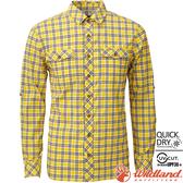 Wildland 荒野 0A81202-124藤黃色 男彈性格子長袖襯衫 抗UV/中層衣/登山休閒服/排汗衫/可當外套