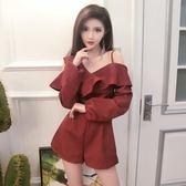 2018春季時髦女裝V領長袖連體闊腿短褲女潮