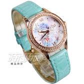 Disney 迪士尼 公主系列 晶鑽童趣腕錶 皮革卡通錶 兒童手錶 防水手錶 女錶 玫瑰金 D公主綠C