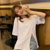 短袖T恤韓版寬鬆短袖T恤女夏2020年新款中長款網紅設計感開叉白色上衣ins JUST M