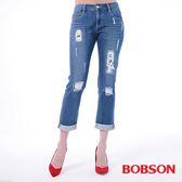 BOBSON 女款低腰男朋友補釘褲(8136-53)