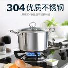 燉鍋-不銹鋼鍋304不銹鋼湯鍋20cm加高加厚不粘鍋具雙耳燉鍋電磁爐通用 大降價!免運8折起!