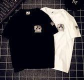ZUCAS~(T-4247)簡約刺繡貓咪短袖T恤潮牌BF風男女款學生情侶閨蜜裝短袖T恤