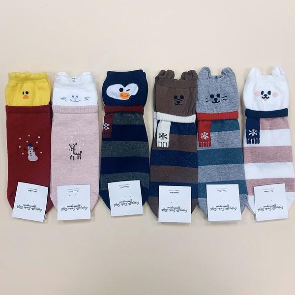 聖誕襪 可愛動物 圍巾 泰迪熊系列 長統襪 韓國襪子