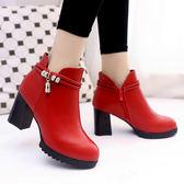 高跟鞋女百搭粗跟及踝靴裸靴女短靴女靴子女鞋潮 優家小鋪