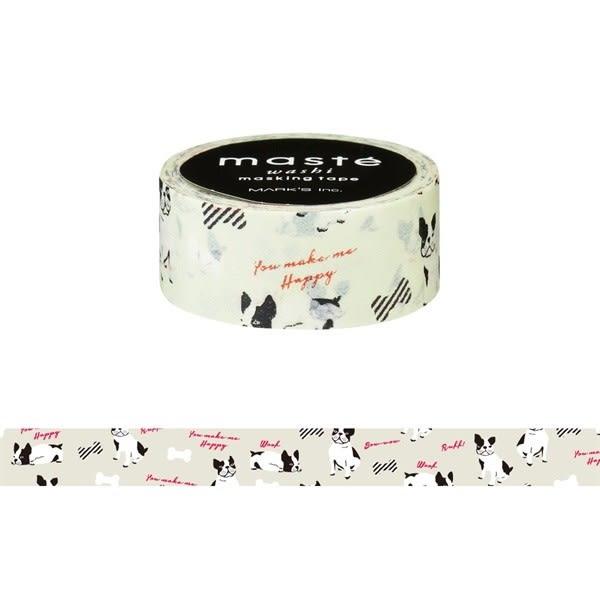 紙膠帶 SEIO 日本官方授權 Masté 日本製 和紙 紙膠帶 French Bulldog 法國鬥牛犬 法鬥