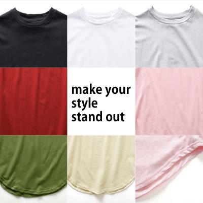 短T JerryShop【XX08706】BASIC凈色圓弧下擺剪裁長版T (7色) 歐美時尚 T恤 多色 Kanye West