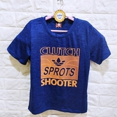 棒棒糖童裝(B53079寶藍)夏男大童藍色美式運動風休閒短袖上衣 120-170