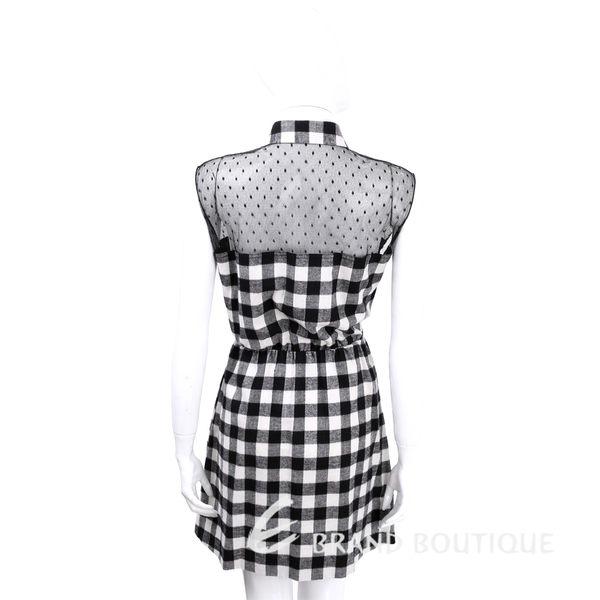RED VALENTINO 黑x白色格紋拼接點點蕾絲無袖洋裝 1540103-37