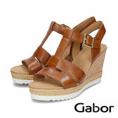 【Gabor 促銷6折】Gabor 歐美簍空楔型涼鞋 棕褐