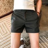 男士三分褲正韓修身側開叉西裝短褲潮男三分褲英倫休閒