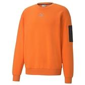 Puma Interstellar 亮橘色 男款 長袖 上衣 刷毛 運動 棉質 運動 休閒 長袖 53029123