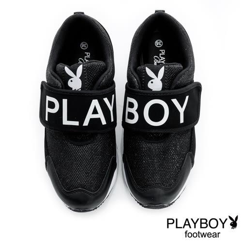 PLAYBOY 黑白潮流 PB寬版帶休閒鞋-黑(女)
