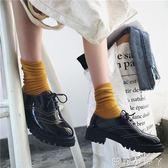 小皮鞋黑色女百搭學生休閒英倫風女鞋子厚底  蘿莉小腳ㄚ 40/黑色3-31