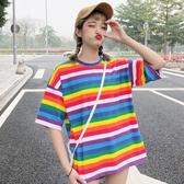 春裝2019款女裝韓版寬鬆顯瘦彩虹條紋短袖T恤女學生百搭打底衫女