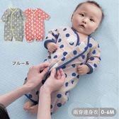 圓點空氣棉連身衣 純棉 可兩穿 新生兒服 保暖透氣 連身衣 寶寶衣 嬰兒用品60.70碼【GD0139】
