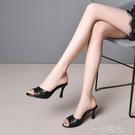 2020夏季新款高跟涼拖鞋女外穿魚嘴露趾半拖鞋細跟一字拖鞋女  一米陽光
