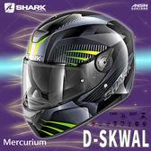 [中壢安信]SHARK D-SKWAL 彩繪 Mercurium 黑灰綠 全罩 安全帽 內墨片HE4024 KAG