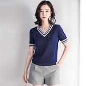 短袖針織衫-V領撞色條紋亮絲女T恤2色73xi32【巴黎精品】