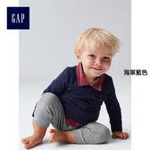 Gap男嬰兒 純棉格紋三件套一件式包屁衣 926078-海軍藍色