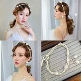 新款新娘頭飾韓式珍珠發帶耳環套裝甜美超仙發箍配飾婚紗禮服飾品   初見居家