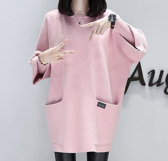 EASON SHOP(GW4507)韓版純色雙口袋圓領反摺長袖七分袖T恤連身裙洋裝女上衣服女上衣服寬鬆膝上閨蜜裝