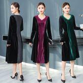 實拍中國風秋冬新款女裝V領拼接長袖寬鬆A字中長款氣質連衣裙洋裝